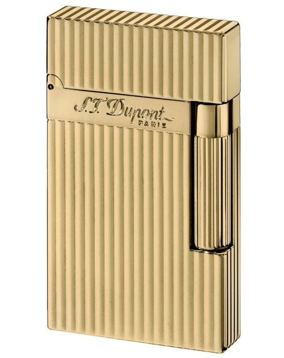S.T. Dupont Feuerzeug Ligne 2 vergoldet längsgestreift